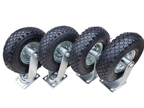 2 x Frosal Bockrolle + 2 x Lenkrolle Set Ø 260 x 85 mm | 3.00-4 Rad als 4-tlg. Set | Luftrad auf Stahlfelge silber | Bollerwagen & Transportwagen Kit