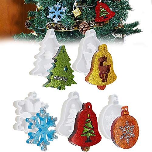 Christmas Resin Moulds 5 Pcs Xmas Mold Kit Epoxy Resin Pendant Necklace Jewelry Making Mould Epoxy Casting Moulds Including Snowflake Xmas Tree Elk Bell for Xmas Tree Ornament Decoration DIY Gift