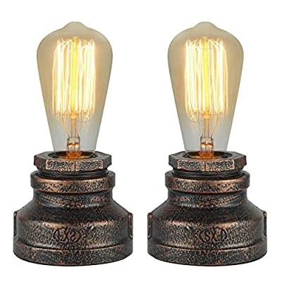 Congratsu Touch Control 3 Way Dimmable Table Lamp, Set of 2 Vintage Desk Lamp, Small Industrial Touch Light Bedside Steampunk Accent Light Edison Lamp Night Light for Living Room Bedroom (2 Pack)