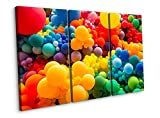 Brillante fondo abstracto de Jumble of Rainbow globos de colores para celebrar el orgullo gay, tres paneles, lienzo, decoración del hogar, 60 x 40' (152 x 102 cm)