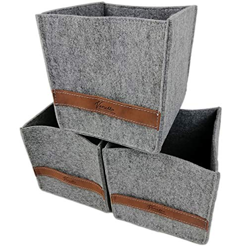 3-er Set Box 17x17x17cm Filzbox Aufbewahrungskiste Aufbewahrungsbox Filzkorb Kiste Filz, Korb, Kiste, Boxen, Aufbewahrung Aufbewahrungskorb für IKEA Regal, Kellerregal, Regalkorb (Grau)