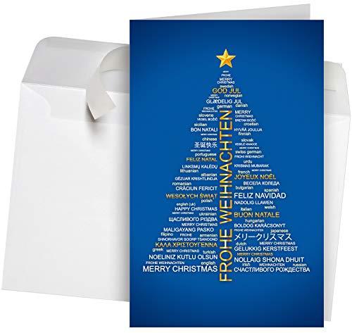 50 Premium Weihnachtskarten incl. Umschläge Motiv: Wordcloud-Baum blau, Set hochwertiger Klappkarten (Hochformat 12x19 cm groß), internationale Weihnachtsgrüße Grüße an Firmen und Gewerbe