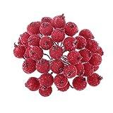 200pcs Mini Baie Fruit de Noël Givré Houx Fleur Artificielle Décoration - Rouge