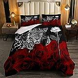 Juego de edredón de leopardo, tamaño doble, diseño de rosas rojas, con estampado de flores, juego de cama de 3 piezas para niños, adolescentes, con 2 fundas de almohada