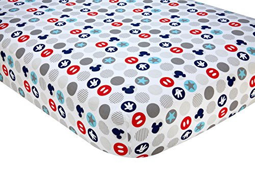Disney Baby Mickey Mouse Best Buddies 100% Cotton Fitted Crib Sheet, Multi