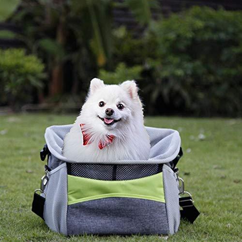 ELR Haustier-Fahrradkorb für Hunde/Katzen mit verstellbarem gepolstertem Schulterriemen, Haustier-Fahrradtasche für Hunde und Katzen