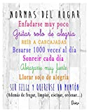 DCine Cuadro Decorativo/Frases positivas/sobre Madera/Regalo/Normas del hogar 19 cm x 25 cm x 4 mm/Madera (Normas del HOGAR 1)