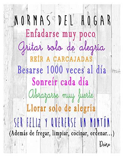 DCine Cuadro Decorativo/Frases positivas/sobre Madera/Regalo/Normas del hogar 19 cm x 25 cm x 4 mm/Madera (Normas del HOGAR...