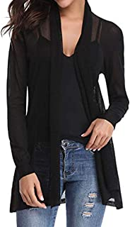 SODIAL Long Sleeve Mesh Shawl Cardigan Coat For Women Oversizes Plus Size Knitting Fashion Coat Ladies Blouses Coat Black S
