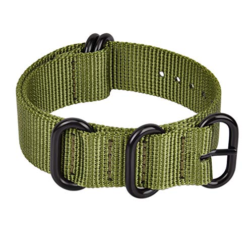 Ritche 22mm Army Green Military Ballistic Nylon Strap With Black Heavy Buckle Compatible with Timex weekender watch band
