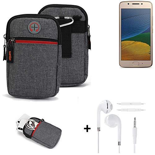 K-S-Trade® Gürtel-Tasche + Kopfhörer Für Lenovo Moto G5 Single-SIM Handy-Tasche Holster Schutz-hülle Grau Zusatzfächer 1x