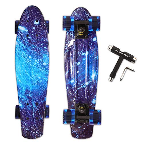 Solomone Cavalli Mini Cruiser Skateboard Complete 22 Inches, with All-in-One Skate T-Tool, Plastic Retro Board for Beginners Kids Teens Adults Boys and Girls