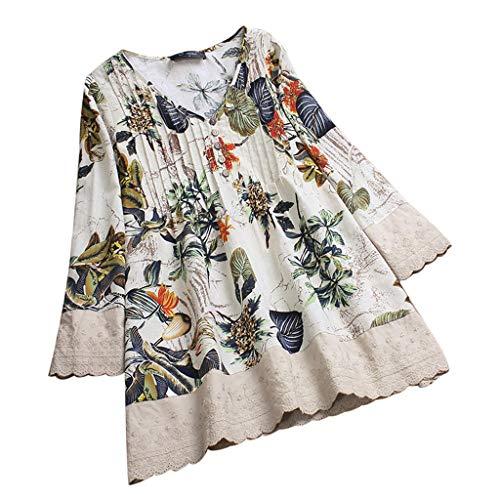 iHENGH Damen Herbst Winter Bequem Mantel Lässig Mode Jacke Frauen Frauen mit Langen Ärmeln Vintage Floral Print Patchwork Bluse Spitze Splicing Tops(Beige, XL)