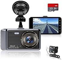 """Autocamera, Abask Dash Cam 4 """"Full HD 1080P Nachtzicht, 170 ° Groothoek Voor- en Achtercamera Met G-sensor, WDR,..."""
