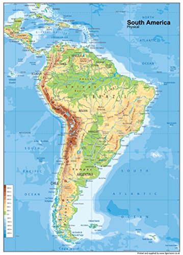 Tiger Moon Große A1 Südamerika physische Karte zum Aufhängen an der Wand oder auf dem Schreibtisch