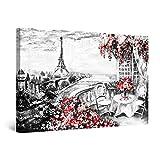Startonight Cuadro Moderno en Lienzo - Terraza Paris Negro Blanco Rojo - Pintura Urbana para Salon Decoración 60 x 90 cm