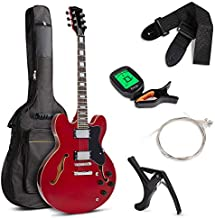 Best Choice Products Semi-Hollow Body Electric Guitar Set w/Dual Humbucker Pickups, 3-Way Pickup Selector, Case, Electronic Tuner, Capo, Strap, Picks, Cutaway Design - Red