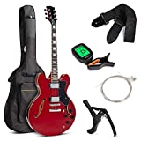 Best Choice Products Semi-Hollow Body Electric Guitar Set w/Dual Humbucker Pickups, 3-Way Pickup Selector, Case, Electronic Tuner, Capo,...