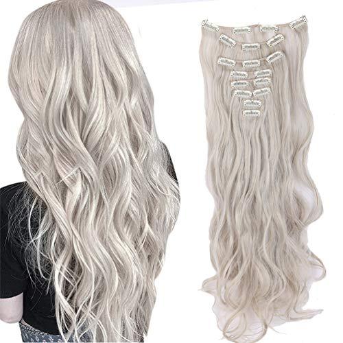 8 Pcs 18 Clips Complète Dans Les Extensions De Cheveux Longs Bouclés Synthétique Épais Extension De Cheveux Ondulés Postiche Full Head 60cm Mélange blond cendré gris argenté