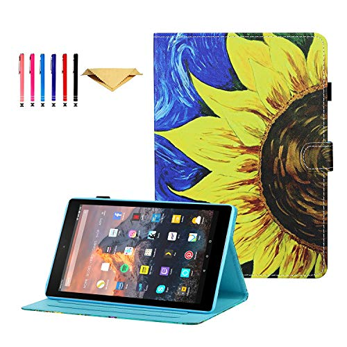 DTangLsm Fire HD 8 Cover, Smart Leather Multi-Angle Folio Cover with Auto Wake/Sleep Case for Kindle Fire HD 8 Tablet 2020 and Fire HD 8 Plus Tablet (10th Generation, 2020 Release)Sunflower