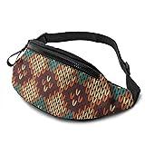 Hippie Knitted Sport Waist Bag Pack,Fitness Exercise Belt Bags Hanna Feather,Correa Ajustable con Cremallera para Auriculares para Correr en el Gimnasio,Viajar,IR de excursión