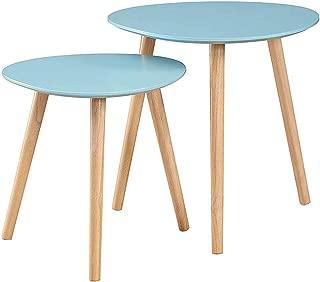 Convenience Concepts Oslo Nesting End Tables, Sea Foam/Light Oak