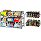 SimpleHouseware Stackable Chrome Can Rack + 2 Tier Spice Rack