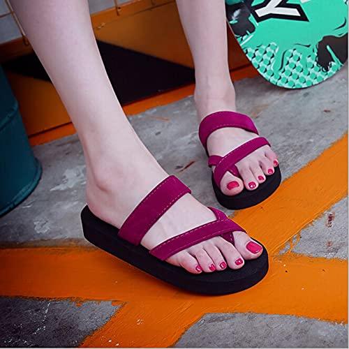 ShSnnwrl Chanclas Antideslizantes Zapatos de Mujer Calzado de Verano Ligero de Gran tamaño para Mujer Zapatillas de Mujer de Gran tamaño 37 Winered