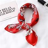 jjh Trash can - Pañuelo de seda de satén pequeño para mujer, diseño cuadrado, pañuelo para el cuello, bufandas, chales para cocina, papelera (color: FX 129, tamaño: 50 x 50 cm)