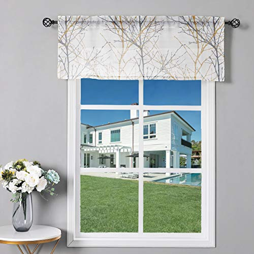 Fmfunctex White Yellow Window Valance Curtain For Living Room 18 Grey Branch Print Valance For Kitchen 50 W X 18 L 1 Panel Buy Online In Colombia At Desertcart Co Productid 172529445