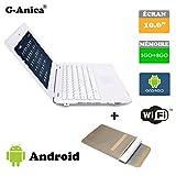 G-Anica Ordenador portátil de 10.1'(WiFi, 1.5GHz 1GB de RAM, 8GB de Disco Duro) Android 4.4.2 Netbook Color Rosa+Bolso del Ordenador portátil