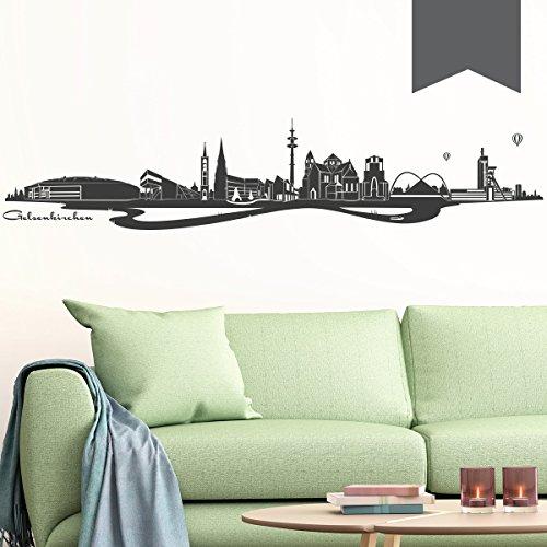 Wandkings Wandtattoo Skyline Gelsenkirchen (mit Sehenswürdigkeiten & Wahrzeichen der Stadt) 80 x 16 cm dunkelgrau - erhältlich in 33 Farben
