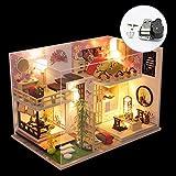 XLZSP DIY loft apartamentos madera casas de muñecas con luz LED miniatura modelo de casa de madera regalo creativo regalo cumpleaños juguete educativo