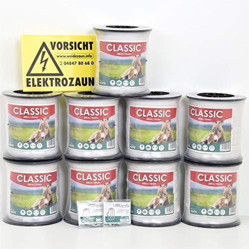 VOSS.farming Weidezaunband 1900m 10mm Classic 4 x 0,16 NIRO, weiß, Weidezaun und Elektrozaun Band