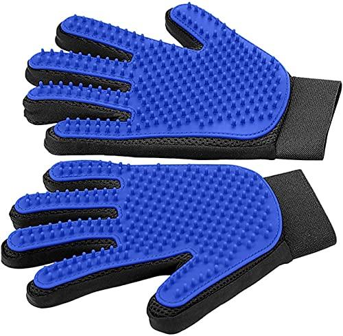 ペットブラシ手袋 ペットブラシ、手袋、猫用クリーニングブラシ、ヘアリムーバー1組、クリーニングマッサージブラシ、犬、手袋、ペット用ブラシヘッド、メンテナンス、クリーニング用手袋 (Color : Blue)