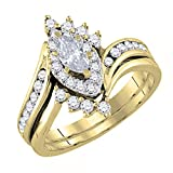 Dazzlingrock Collection 0.95 Carat (ctw) 14K Marquise & Round Diamond Engagement Ring Band Set 1 CT, Yellow Gold, Size 6.5