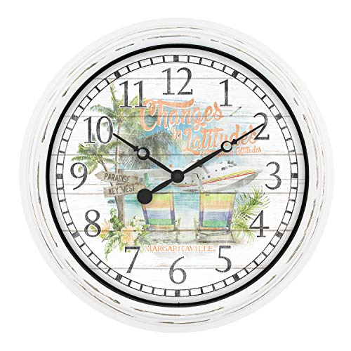 "La Crosse Technology 433-3841MV 15.75"" Indoor/Outdoor Quartz Wall Clock - Margaritaville Changes in Latitudes, White/Multi"