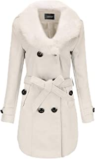 Womens Slim Double Breasted Wool Blend Faux Fur Collar Trench Coat Jacket Outerwears
