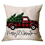 Zxbm - Cuscino natalizio in cotone e lino, federe decorative per cuscini e imbottiture, cuscino natalizio per anziani, per la famiglia, 45 x 45 cm