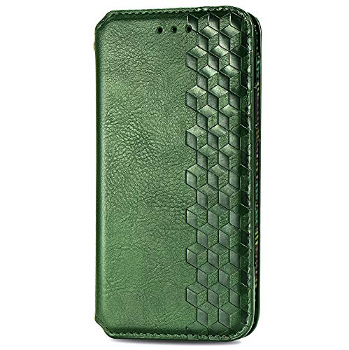 BOWFU Premium Leather Case for Samsung Galaxy S21+/S21 Plus, Flip Cover with [Magnetic Closure] [Card Slots] [Horizontal Viewing Stand] [Durable Frame] Folio Case-Green
