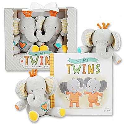 We are Twins - Baby and Toddler Twin Gift Set- Includes Keepsake Book and Set of 2 Plush Elephant Rattles for Boys and Girls. Perfect for Newborn Infant - Baby Shower - Toddler Birthday – Christmas