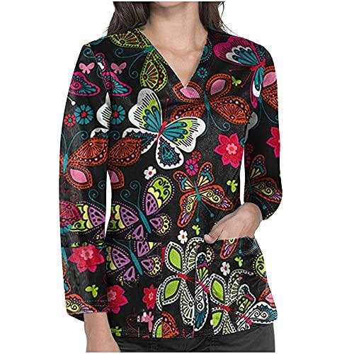 Damen Shirt Langarm Sexy V-Ausschnitt Hemd Bluse Vintage Damen Langarm Bedrucktes Pullover Pocket Carer Top Mode Locker Herbst Winter Pullover Basic Oberteile Tops Lange Ärm