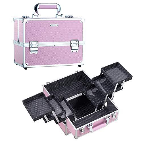 Maletin Maquillaje Grande Profesional Rosa Estuche Maquillaje Caja Maquillaje de Viaje Maletín Manicura Joyero Esmalte de Uñas con 6 Bandejas Regalos para Mujer