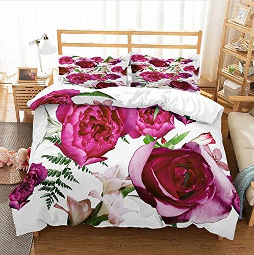 NTT Duvet Cover 3D Flower Duvet Cover Set Bedding Set With Pillowcase Twin Bed Set Queen Size Comforter Sets 150 * 200Cm