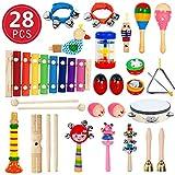 28 Stück Musikinstrumente Holz Percussion Set Schlagzeug Schlagwerk Spielzeug Set...