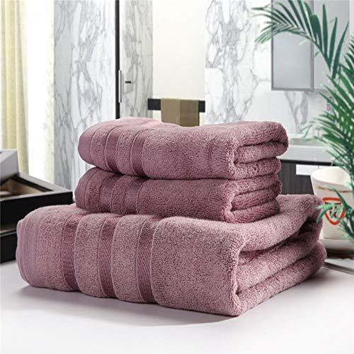 Heruiyan - Toalla de baño de fibra de bambú y algodón natural de lino suave y suave para baño, gimnasio, sauna, toalla de baño, juego de tres piezas (1 toalla de baño y 2 toallas), Morado oscuro.
