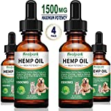Hemp Oil for Dogs Cats - 4 Pack 1500mg - Separation Anxiety, Joint Pain, Stress Relief, Arthritis, Seizures - Organic Hemp Seed Oil Extract