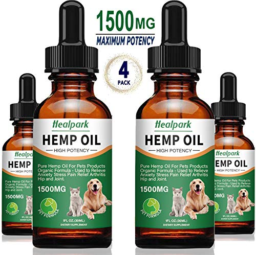 Hemp Oil for Dogs Cats - 4 Pack 1500mg - Separation Anxiety, Joint Pain, Stress Relief, Arthritis, Seizures, Calming Dog Treats - Organic Hemp Seed Oil Extract