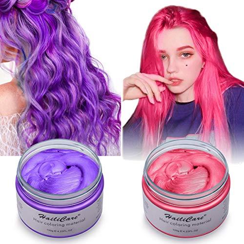 Haarfarbe Wachs, HailiCare 2x120g Temporäre Haarfarbe Farbstoff, DIY Haar Styling Cream, Natürliche Frisur Wachs Haar Styling Wachs Haar Cream für Party, Cosplay, Weihnachten, Geburtstag (Rot + Lila)