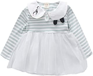 Xifamniy Infant Girl Long Sleeve Skirt Cute Embroidery Striped Tops Stitching Mesh Dress Light Green